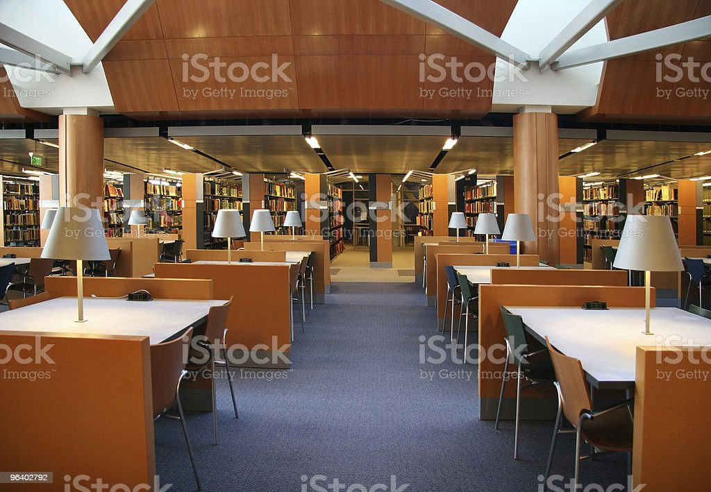 Empty interior of library with desks royalty-free stock photo