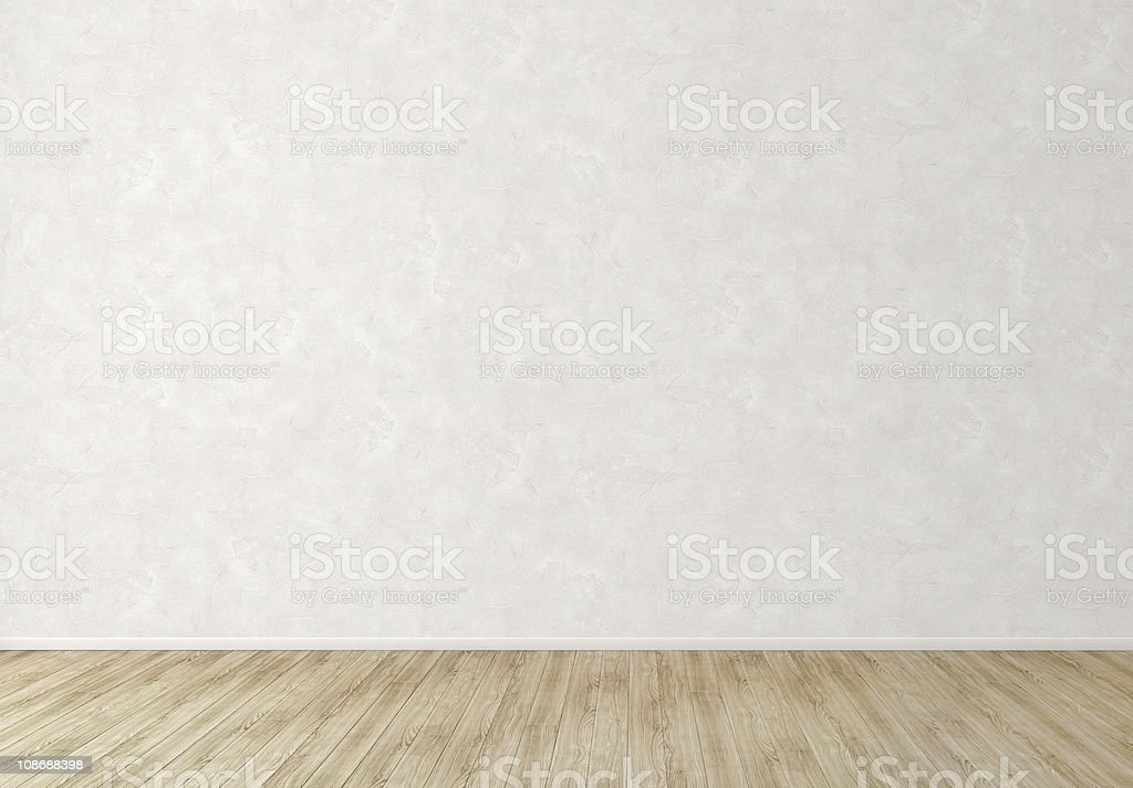 Empty Interior Room with White Stucco Wall stock photo