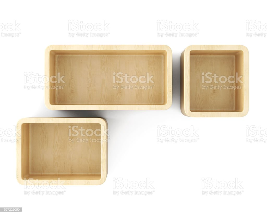 Empty interior shelves on the wall. 3d rendering. stock photo