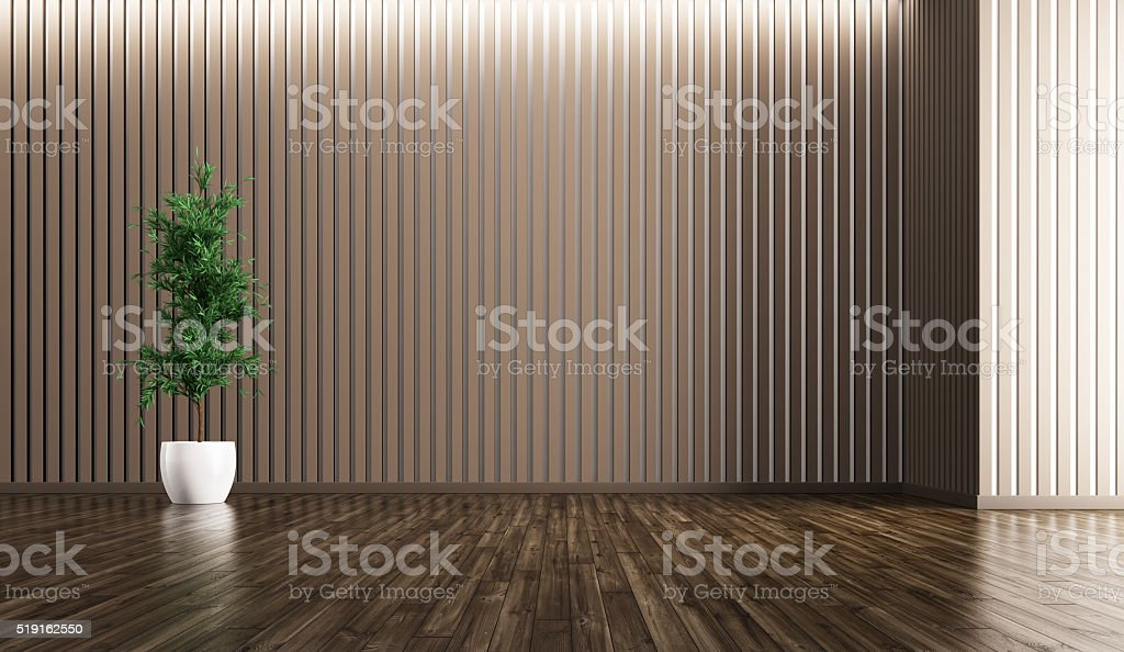 Empty interior with plant 3d rendering stock photo