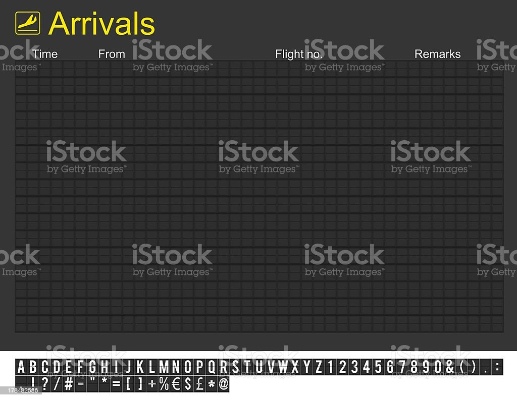 Empty International Airport Arrivals Board stock photo