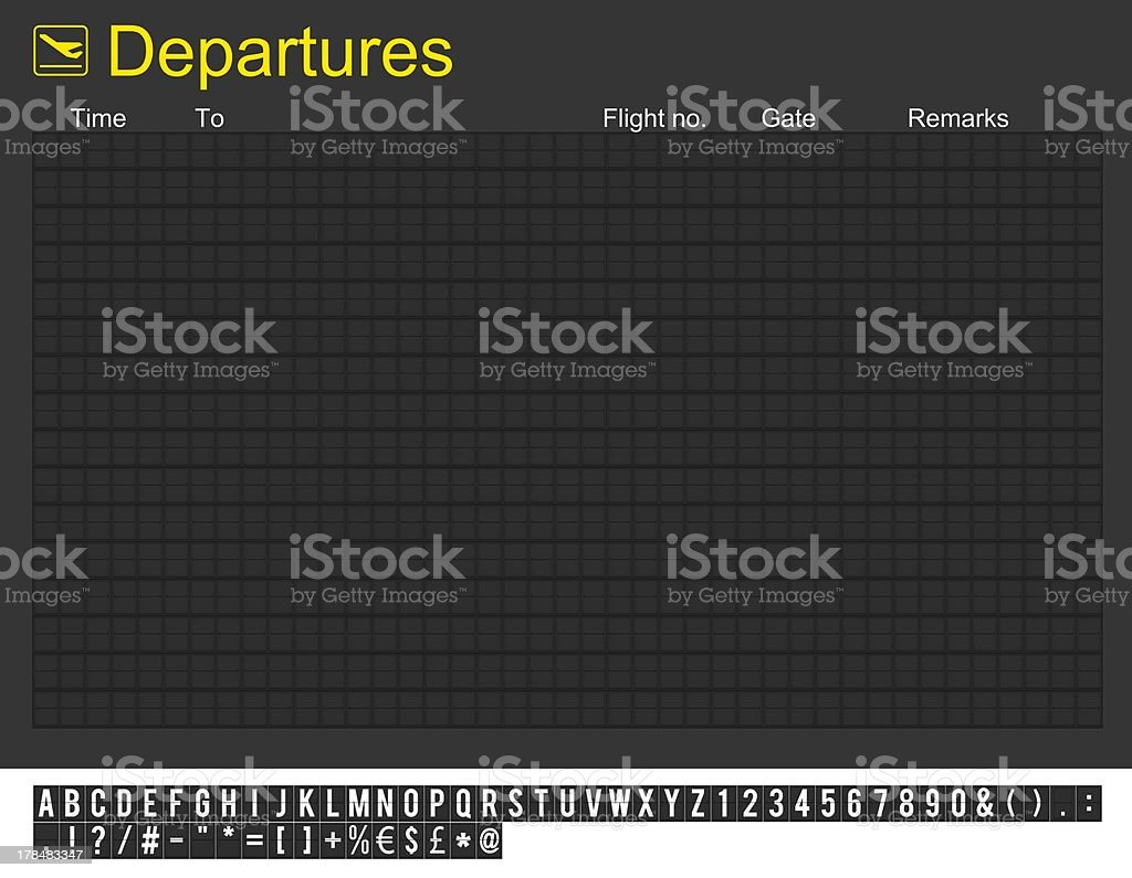 Empty International Airport Departures Board stock photo