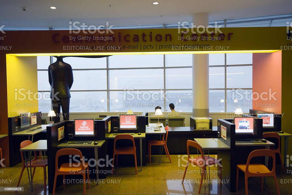 Empty internet cafe in Brussels Airport. stock photo