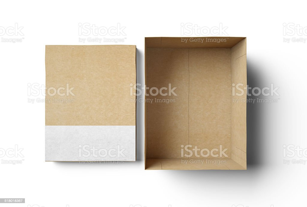 Empty isolated box with white strip stock photo