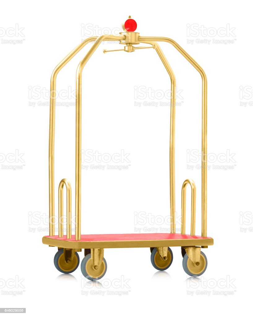 empty isolated luggage trolley stock photo