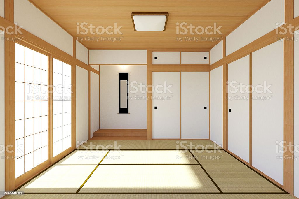 Empty Japanese living room interior in traditional and minimal design stock photo