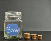 Empty jar with the word save on it and coins