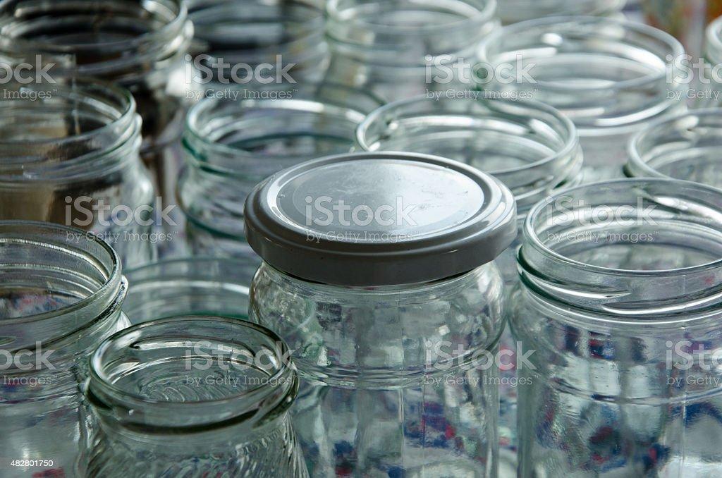 empty jars of homemade preserves stock photo