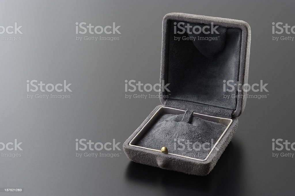 Empty Jewelry gift box on black table with copy space stock photo