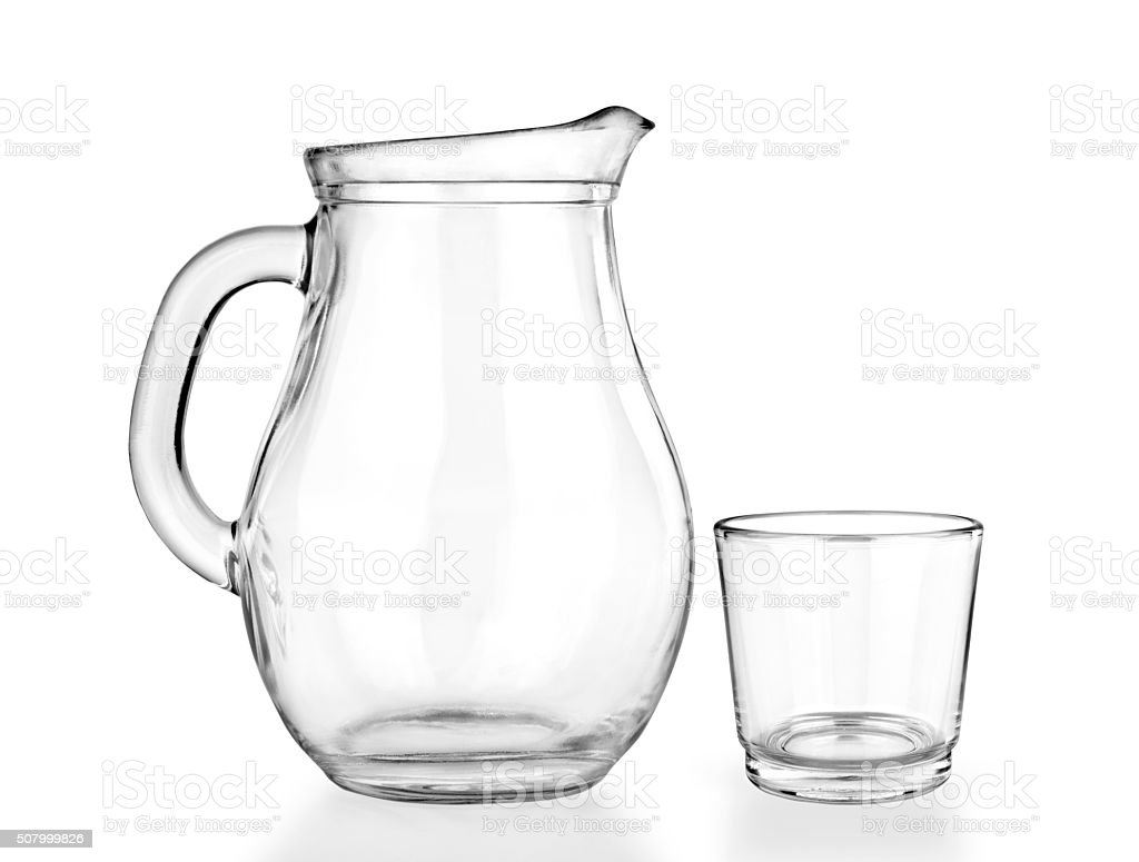 Empty jug and glass on a white stock photo