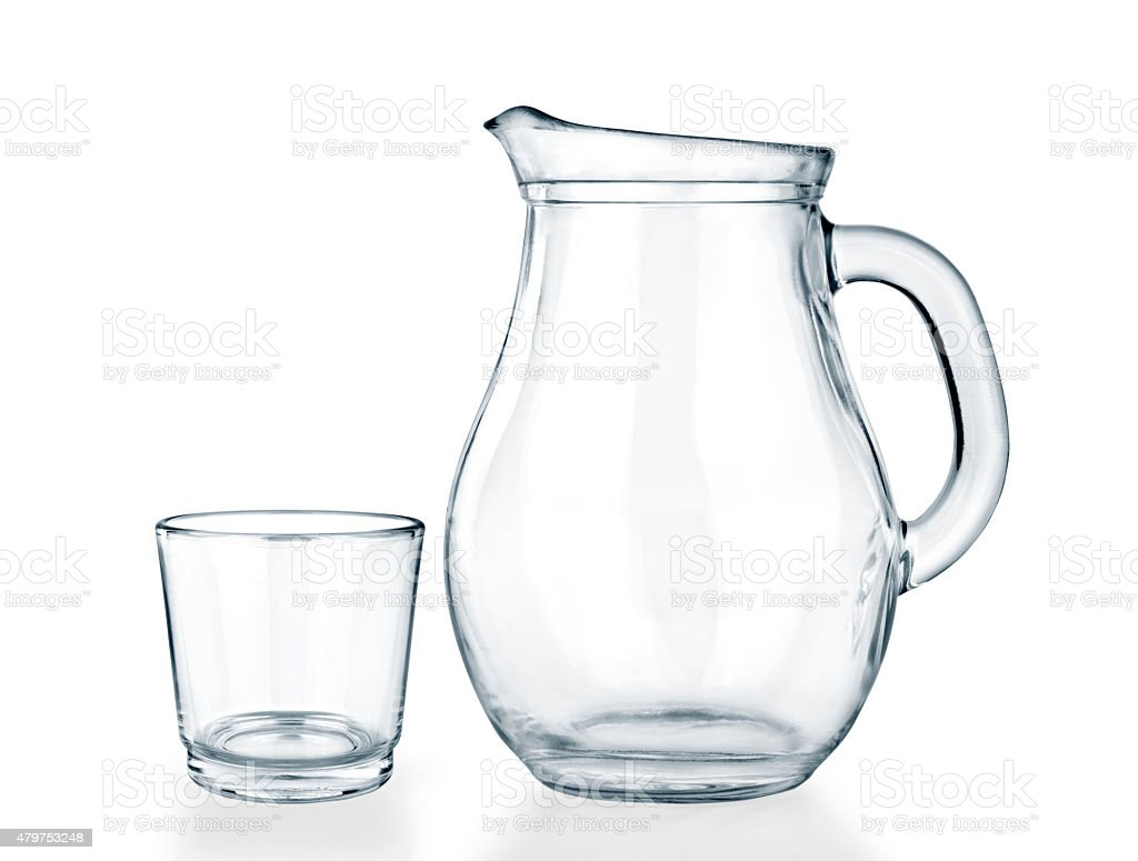 Empty jug and glass stock photo