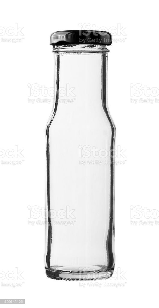 Empty Ketchup Glass Bottle Cap isolated on white background stock photo