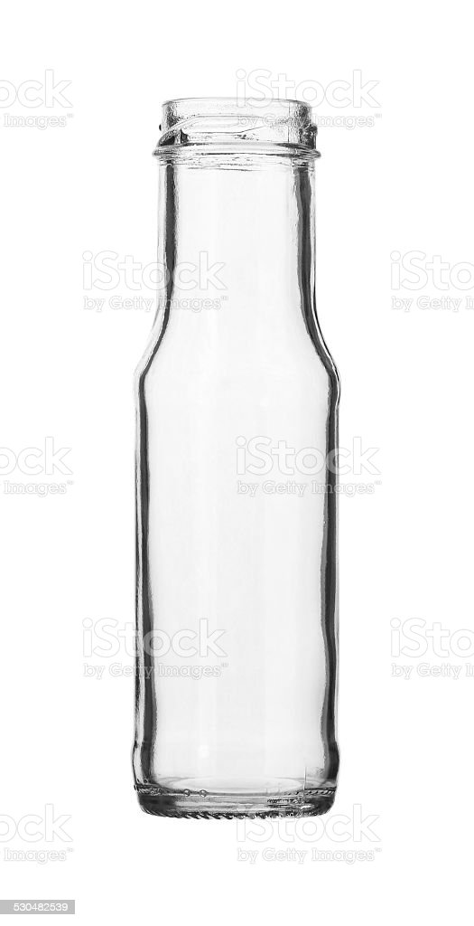Empty Ketchup Glass Bottle No Cap isolated on white background stock photo