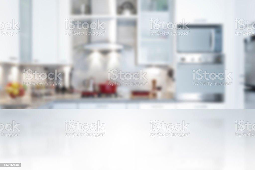 Empty kitchen countertop stock photo