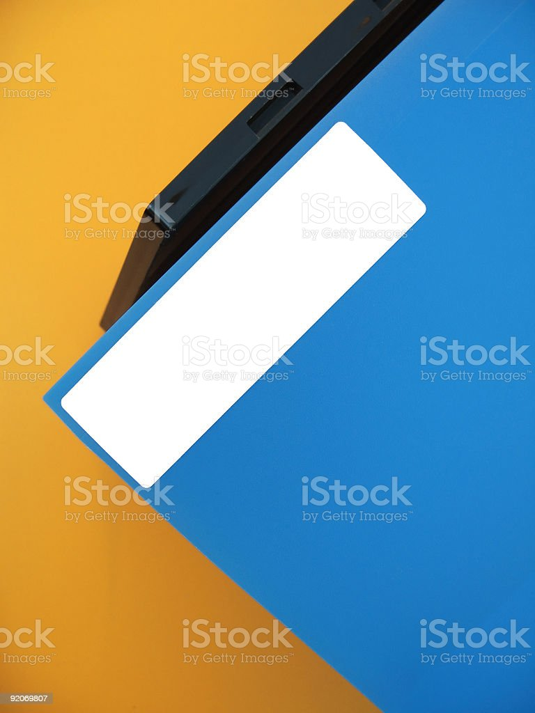 Empty Label on Blue Folder royalty-free stock photo