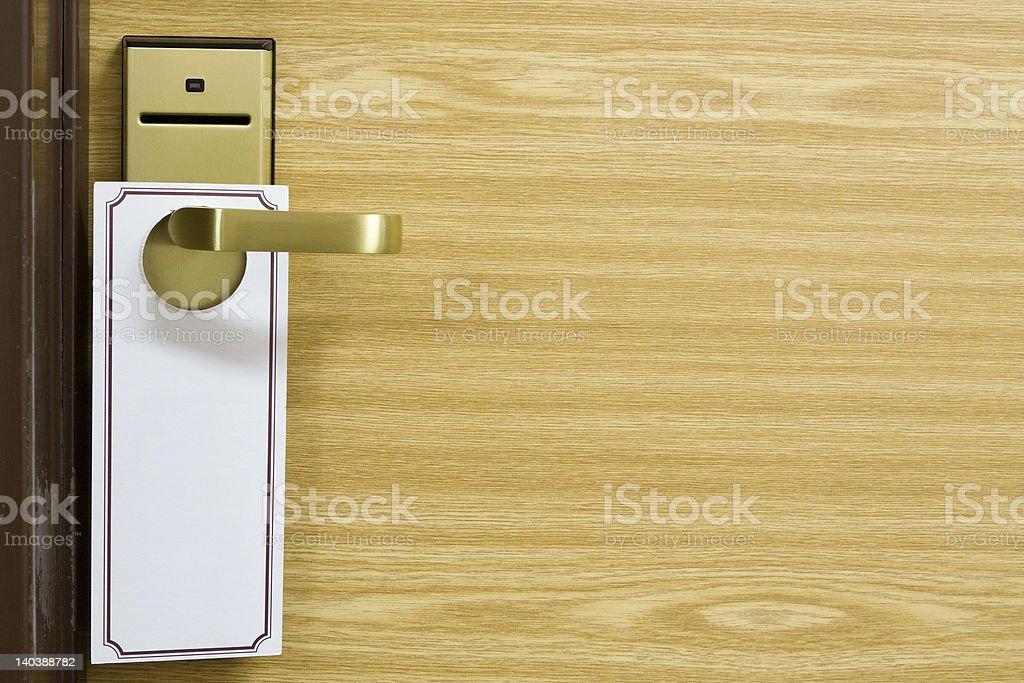 Empty label on the door handle stock photo