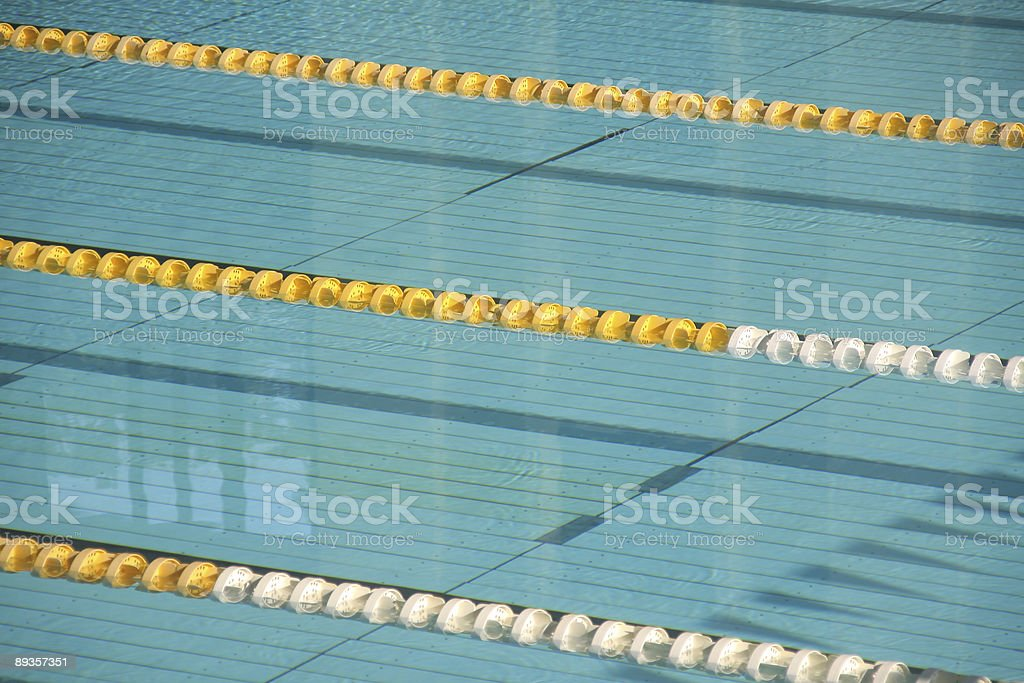 Empty lanes in a swimming pool stock photo