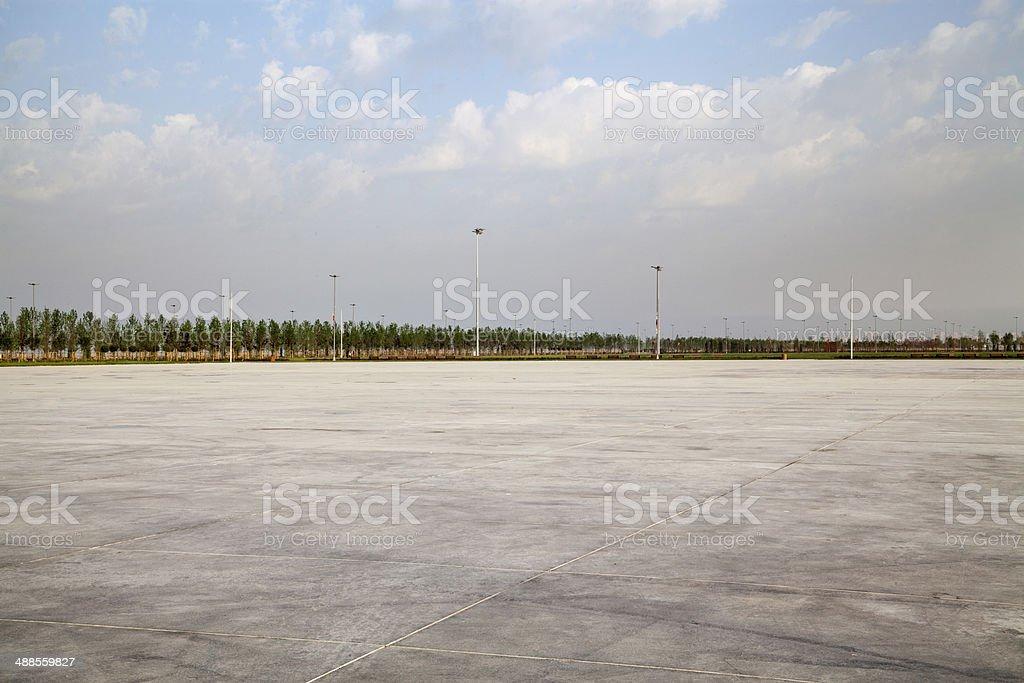 Empty large concrete area stock photo