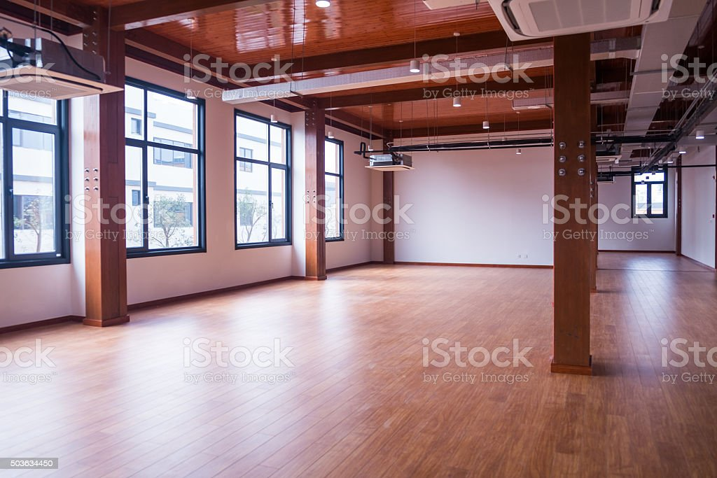 Empty large office space stock photo
