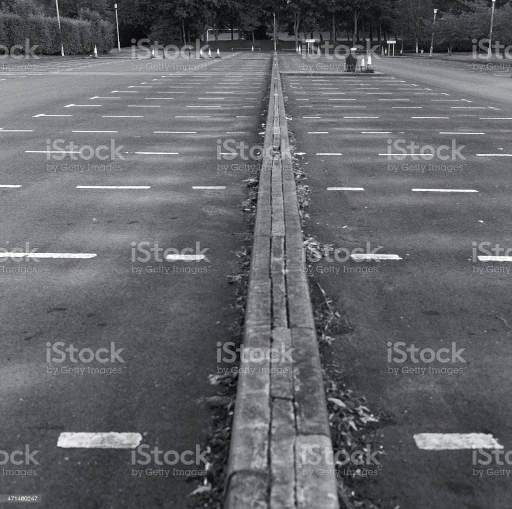 Empty large outdoors car park - free spaces royalty-free stock photo