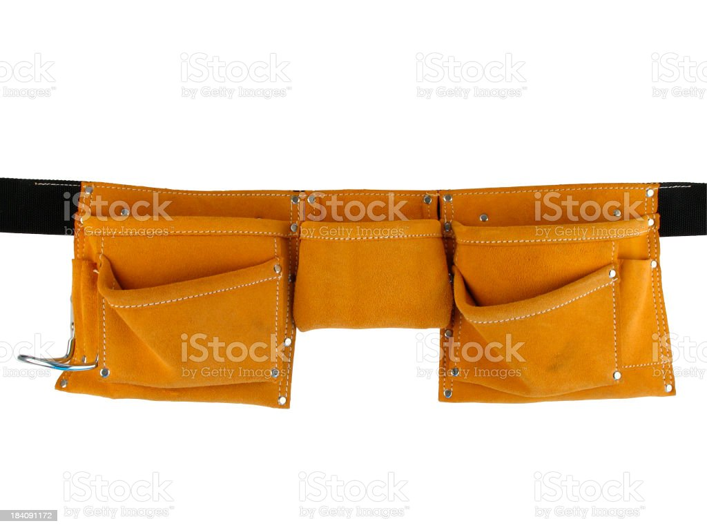 Empty Leather Tool Belt Isolated on a White Background stock photo