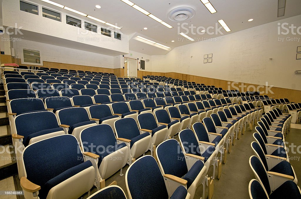 Empty lecture hall in college stock photo