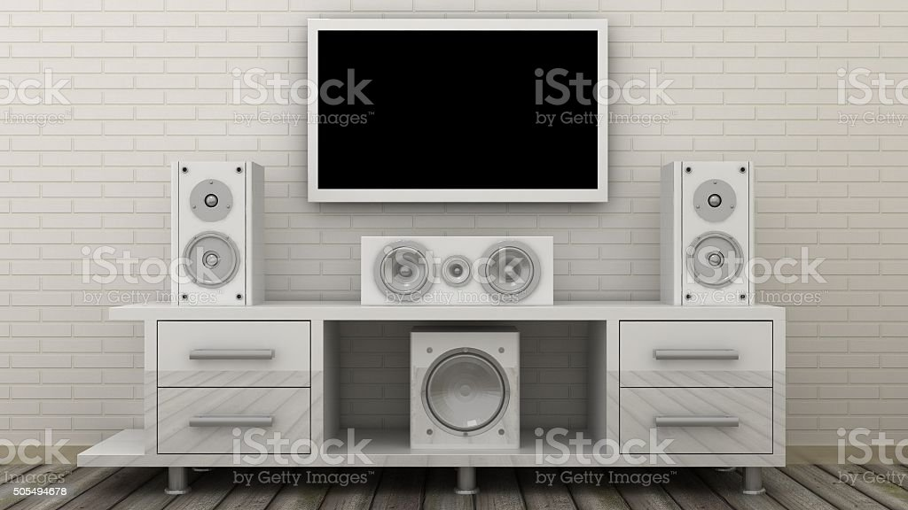 Empty LED TV on television shelf with home theater stock photo