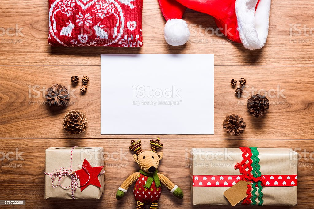empty letter to santa and presents, retro xmas concept stock photo