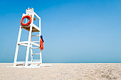 Empty Lifeguard Chair on the beach