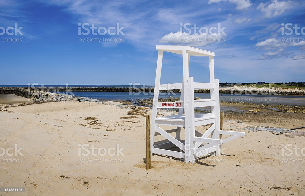 Empty Lifeguard Chair stock photo