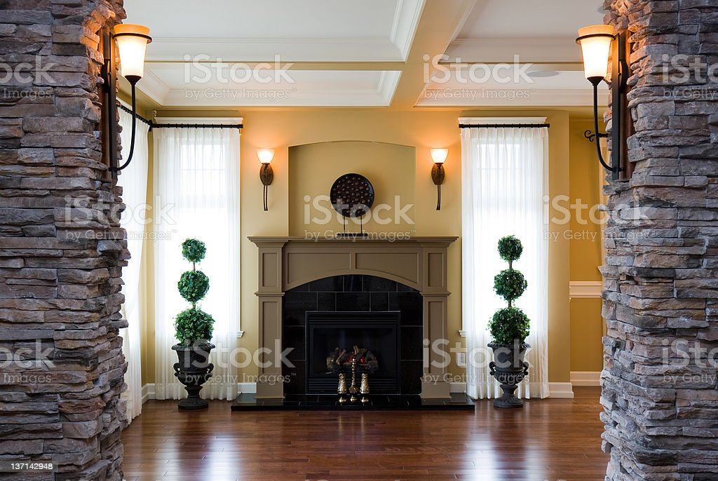 A empty living room in a modern home stock photo