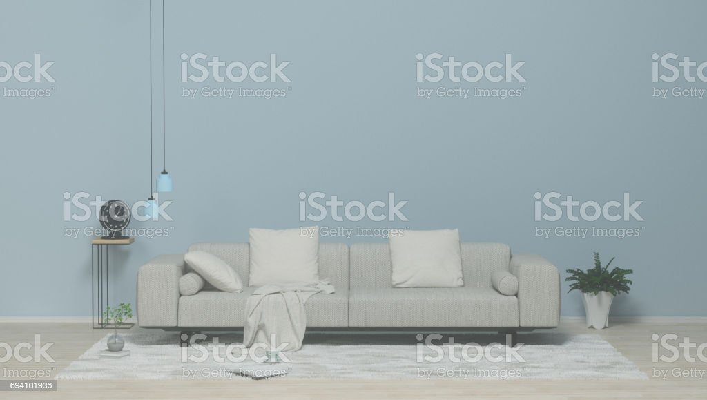 Empty living room Interior poster mock-up with fabric sofa, plaid and pillows on clean wall background for the art works  3D rendering. stock photo