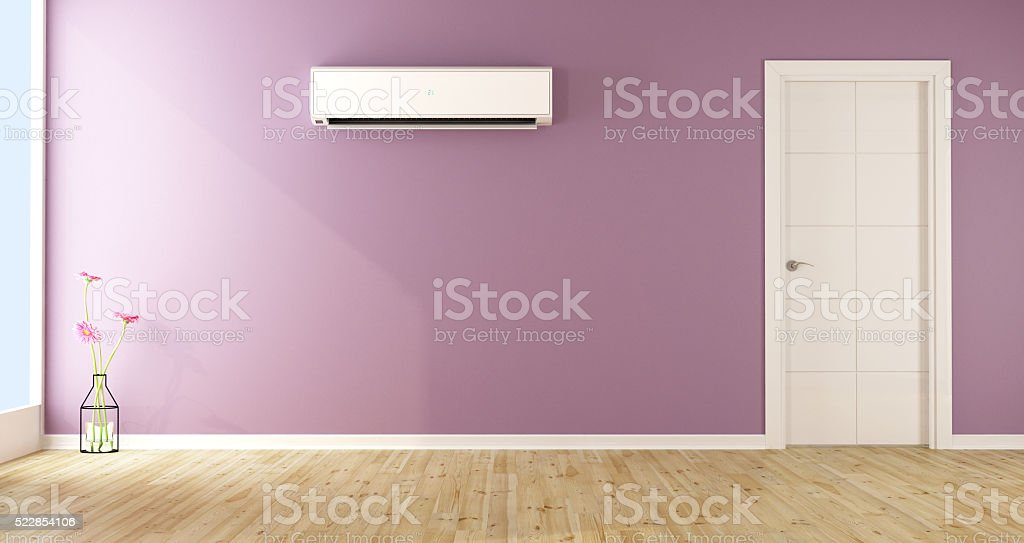 Empty living room with air conditioner stock photo