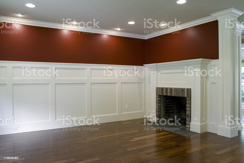 Empty Living Room with Fireplace stock photo