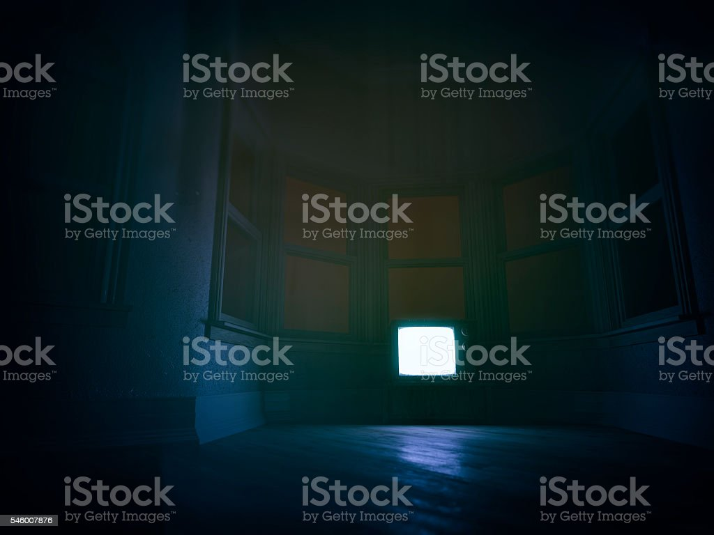 Empty living room with tv set stock photo
