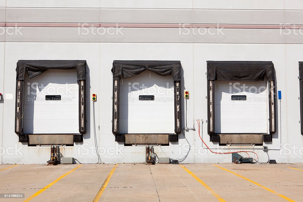 empty loading dock with no people on sunny day stock photo