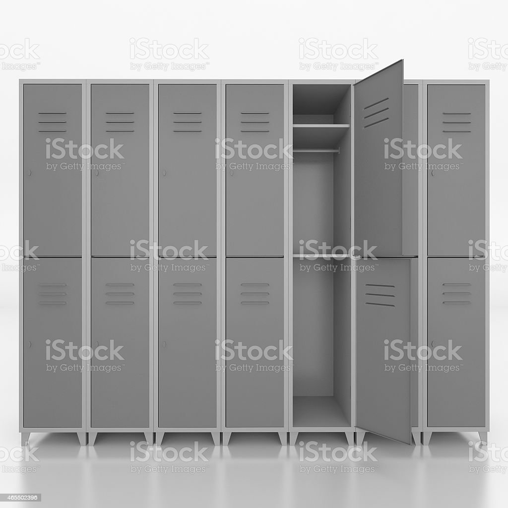 Empty  lockers isolate on white  background stock photo