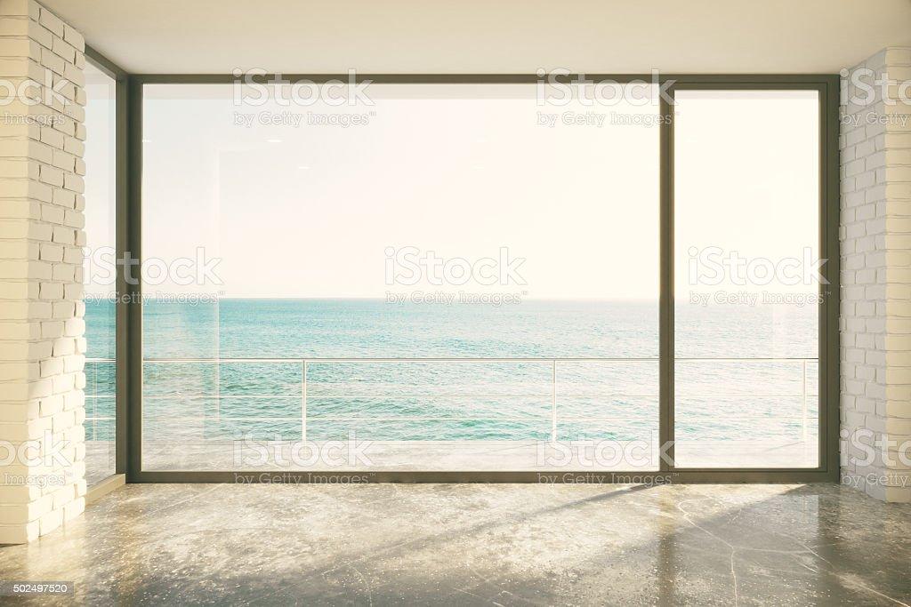 Empty loft room with big window in floor stock photo