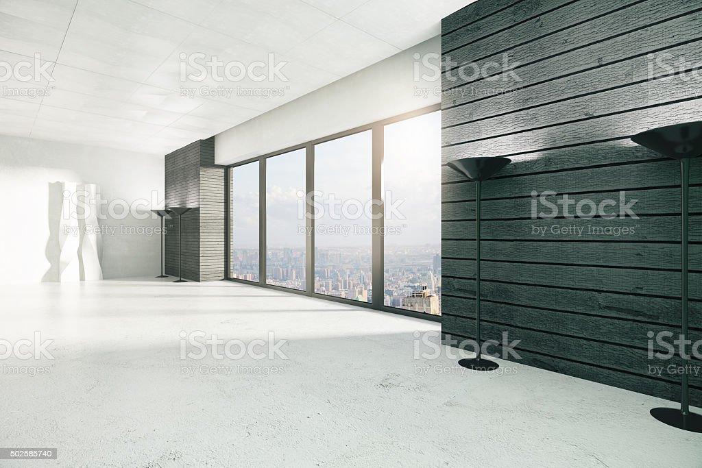 Empty loft style room with windows in floor, white floor stock photo