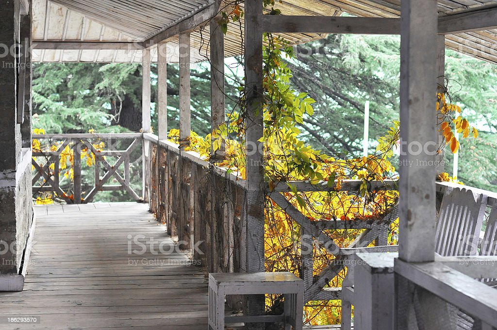 Empty log cabin house balcony royalty-free stock photo