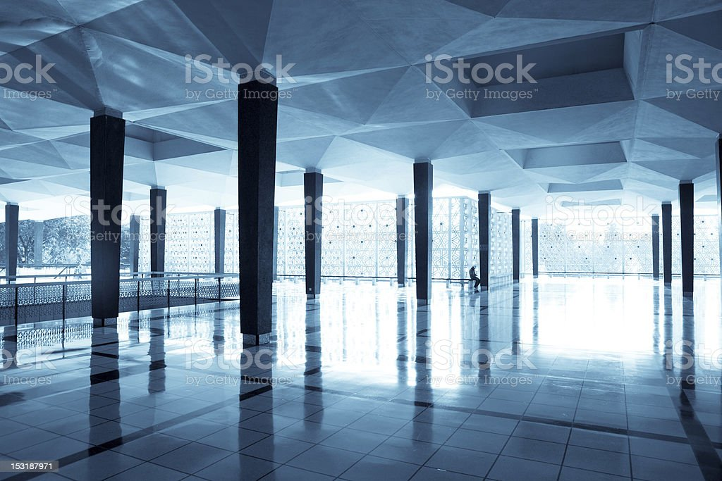 empty long corridor in the modern office building. royalty-free stock photo