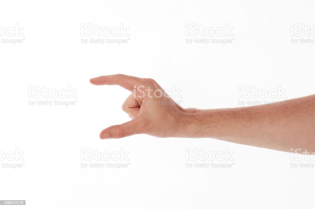 empty man hand holding something - Stock Image stock photo