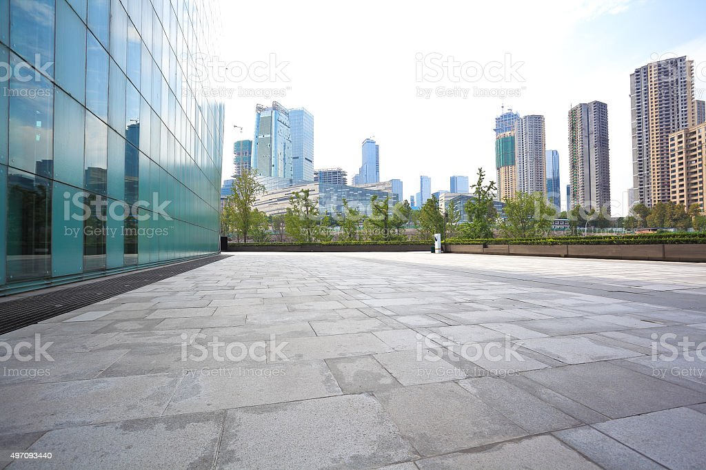 Empty marble floor and glass wall with architecture background stock photo