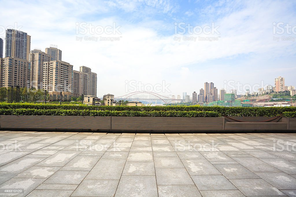 City Building empty marble floor with city building background stock photo