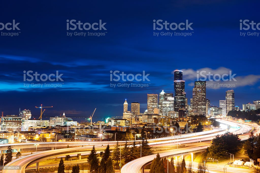 empty marble floor with cityscape and skyline of seattle stock photo