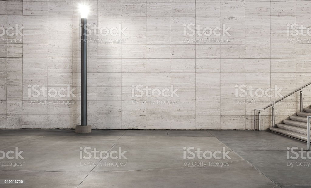 empty marble footpath and modern buildings at night in city stock photo
