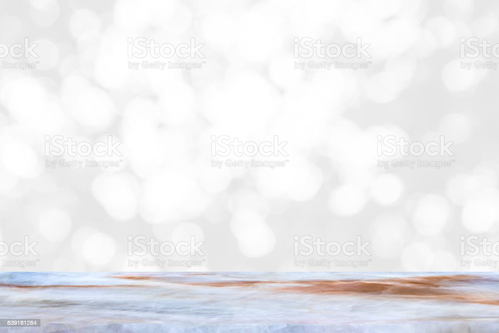 empty marble table and interior blur background with bokeh image. stock photo