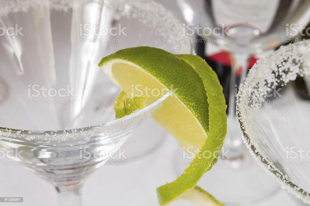 Empty margarita glass with lime and salt royalty-free stock photo