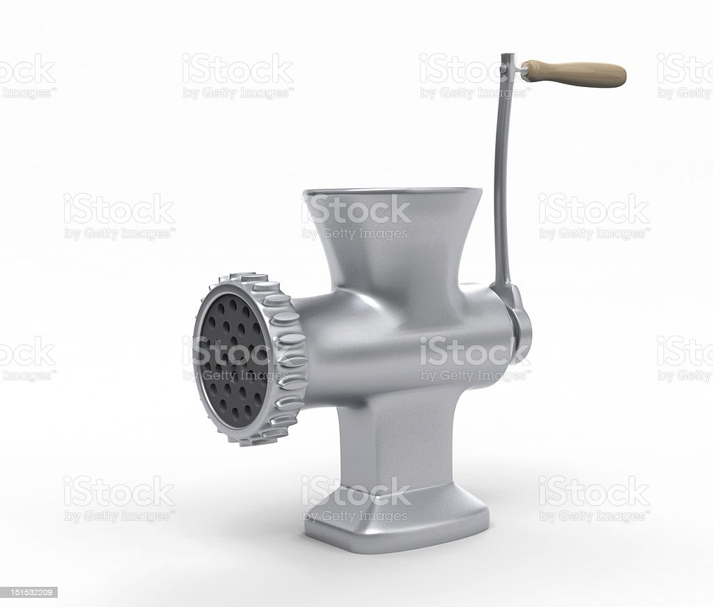 Empty meat grinder on white surface stock photo