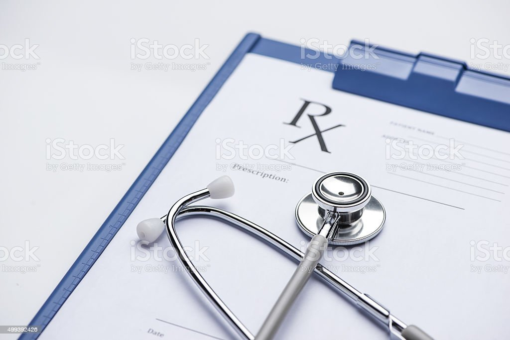 Empty medical form ready to be used stock photo